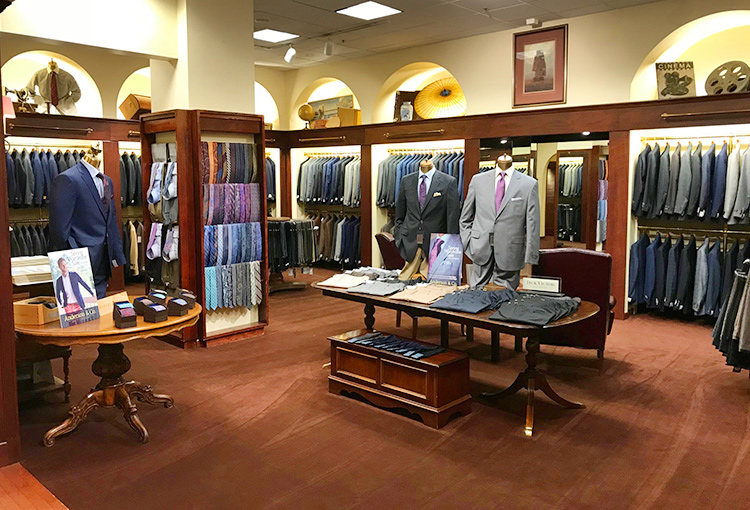 Interior of Anderson & Co. store showing suits
